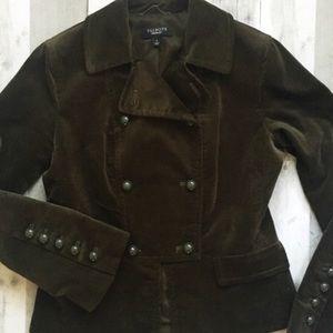 Talbots army green velvet military style jacket